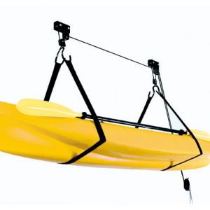 The Surge kayak ceiling lift kit is a breeze to install and a breeze to use. No need to store your beautiful kayak down the side of the house for spiders make their home. Drive into the garage and hoist the kayak straight from your car ready for it's next epic paddling trip. With a load rating to 45 kilograms you can store your PFD and padlle as well as other accessories if weight limits are met.